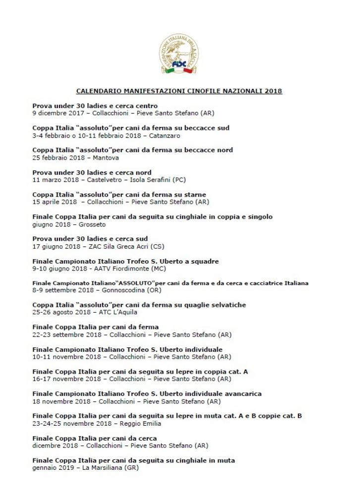 calendario manifestazioni FIDC2018