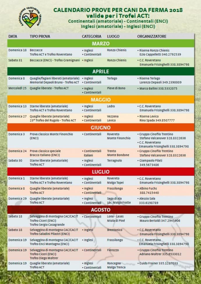 Enci Calendario Prove.Trofeo Act Calendario Prove Cani Da Ferma 2018