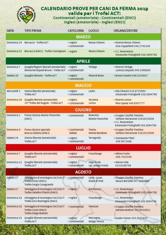 Enci Calendario Prove.Trofeo Act Calendario Prove Cani Da Ferma 2019